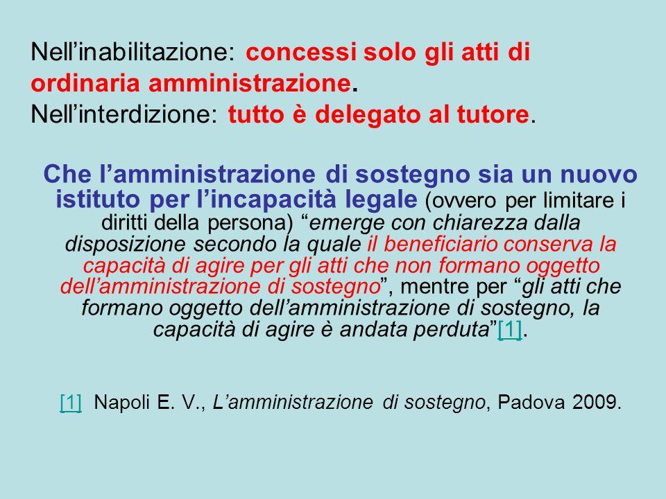 [1] Napoli E. V., L'amministrazione di sostegno, Padova 2009.